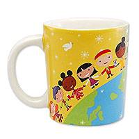 Ceramic mug, 'Day and Night around the World' - Ceramic Mug holds 12oz. Dishwasher and Microwave Safe