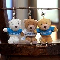 Key clip, 'UNICEF Bear Trio' (set of 3) - Set of 3 Cuddly UNICEF Bears Key Clips