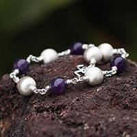 Amethyst beaded bracelet, 'Sweet Violet' - Amethyst and 950 Silver Beaded Bracelet