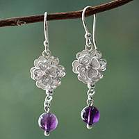 Amethyst flower earrings, 'Filigree Bouquet' - Andean Silver 950 Earrings Hand Crafted with Amethysts