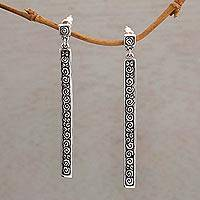 Sterling silver dangle earrings, 'Trailing Curls' - Artisan Jewelry Sterling Silver Dangle Earrings