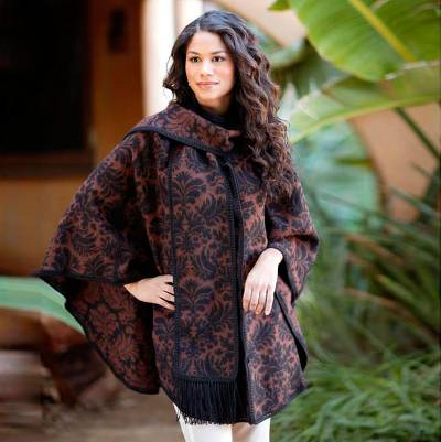 Reversible alpaca blend ruana cloak, 'Secret Garden' - Reversible Alpaca Blend Ruana Cloak for Women