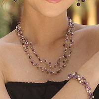 Cultured pearl and amethyst beaded necklace, 'Mystic Passion' (Thailand)