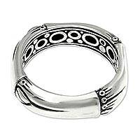 Sterling silver band ring, 'Bamboo Circle' - Sterling silver band ring
