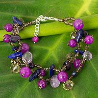 Lapis lazuli and amethyst beaded bracelet,