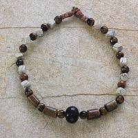 Agate and tiger's eye beaded necklace, 'Victory' - Agate and tiger's eye beaded necklace