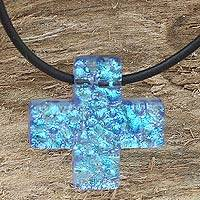 Dichroic art glass cross necklace,