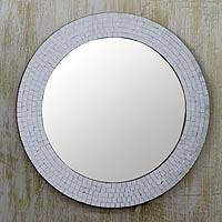 Glass mosaic mirror, 'Silvery Glamour' - Indian Handmade Silver Glass Mosaic Wall Mirror