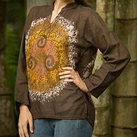 Cotton batik tunic, 'Thai Magic in Brown' - Handmade Brown Batik Cotton Tunic Top