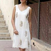Embellished dress, 'Golden Panorama' - White Viscose Embellished Sheer Dress with Lining