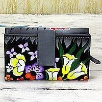 Leather wallet, 'Buttercup Muse' - Hand Painted Leather Wallet Floral Motifs from India