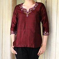 Silk tunic, 'Classy Wine' - Artisan Crafted Embroidered 100% Silk Tunic