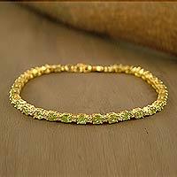Gold vermeil peridot tennis bracelet,