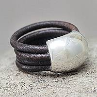 Leather ring, 'Dark Brown Moon'