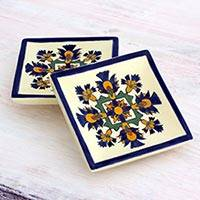Small ceramic dessert plates, 'Floral Beauty' (pair) - Artisan Crafted Floral Ceramic Dessert Plates Set of 2