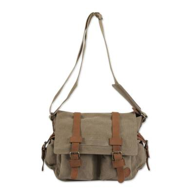 Leather accent cotton messenger bag, 'Journey to Puno' - Tan and Brown Leather Accent Roomy Canvas Messenger Bag