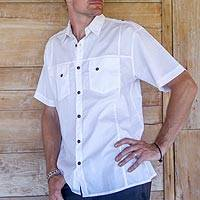 Men's cotton shirt, 'Military White' - Men's Military Style White Short Sleeve Shirt 2 Pockets
