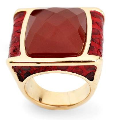 Unique Gold Plated Agate and Snakeskin Ring