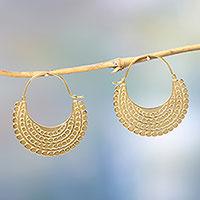 Gold vermeil hoop earrings,