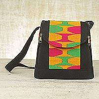 Cotton kente shoulder bag, 'Good morning' - Cotton kente shoulder bag