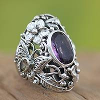 Amethyst and citrine cocktail ring, 'Frangipani Butterfly' - Unique Sterling Silver and Amethyst Cocktail Ring