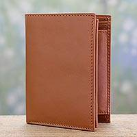 Men's leather wallet, 'Elegant Tan' - Tan Leather Wallet for Men Handcrafted in India