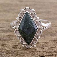 Jade cocktail ring, 'Dark Diamond Dahlia' - Guatemalan Handcrafted Dark Green Jade Ring