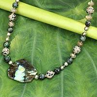 Pearl and labradorite pendant necklace, 'Quiet Charisma' - Pearl and labradorite pendant necklace