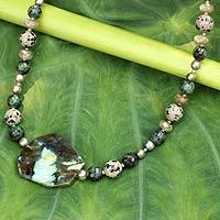 Pearl and labradorite pendant necklace,