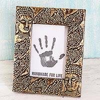 Brass photo frame, 'Buddha's Blessing' (5x7) - Wood Glass and Brass 5x7 Photo Frame Buddha from India