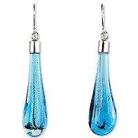 Dichroic art glass dangle earrings,