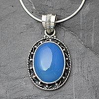 Chalcedony pendant necklace,
