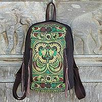 Cotton and leather accent embroidered backpack, 'Phoenix Journey' - Artisan Crafted Embroidered Cotton Backpack from Thailand