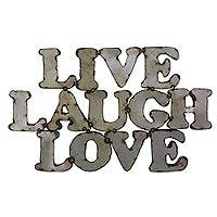 Steel sign, 'Live Laugh Love' - Handmade Rustic Steel Wall Sign from Mexico