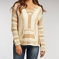Organic cotton hoody sweater, 'Cream and Honey Baja' - 100% Organic Cotton Hoody Sweater in Natural Beige and Brown