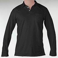 Men's organic cotton polo shirt, 'Theory in Black' - 100% Organic Cotton Men's Black Long Sleeve Polo Shirt