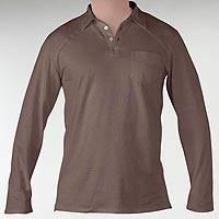 Men's organic cotton polo shirt, 'Theory in Mocha' - 100% Organic Cotton Men's Brown Long Sleeve Polo Shirt