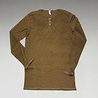 Men's organic cotton shirt, 'Mocha Henley Baja' - 100% Organic Cotton Men's Henley Long Sleeve Shirt in Mocha