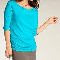 Organic cotton t-shirt, 'Sheer Riviera' - Turquoise Ruched T-shirt for Women in 100% Organic Cotton