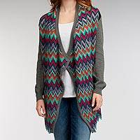 Alpaca and organic cotton blend cardigan, 'Bright Mix' - Multi Color Zigzags Grey Alpaca and Organic Cotton Cardigan