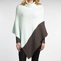 Organic cotton poncho, 'Graphite Ice' - Two-tone 100% Organic Cotton Fluffy Poncho with Cowl Neck