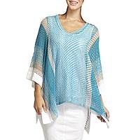 Organic cotton mesh poncho, 'Carefree Seas' - Blue Sand and White Organic Cotton Mesh Poncho