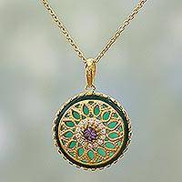 Gold plated amethyst and onyx pendant necklace, 'Gemstone Flower' - Gold Plated Floral Pendant Necklace Amethyst Onyx from India