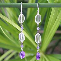 Amethyst and citrine earrings,