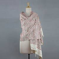 Silk shawl, 'Red Orissa Paths' - Red and Off-white Silk Shawl Wrap from India