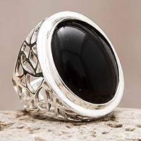 Obsidian cocktail ring, 'Lima Soul' - Obsidian Ring Sterling Silver Artisan Jewelry