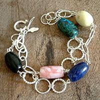Multi-gemstone link bracelet, 'Carnival' - Sterling Silver and Multi-Gemstone Link Bracelet