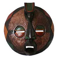 Zaire wood mask, 'Harvest Feast' (small) - Zaire Style Wood Mask Handcrafted in Ghana