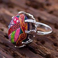 Sterling silver wrap ring, 'Aztec Colors' - Mexican Hand-Painted Ceramic and Sterling Silver Wrap Ring