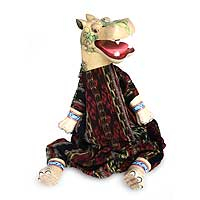 Wood display doll, 'Storyteller Hippo' - Artisan Crafted Cotton and Wood Display Doll